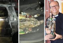 Incendian auto de sacerdote pero la imagen de San José quedó intacta
